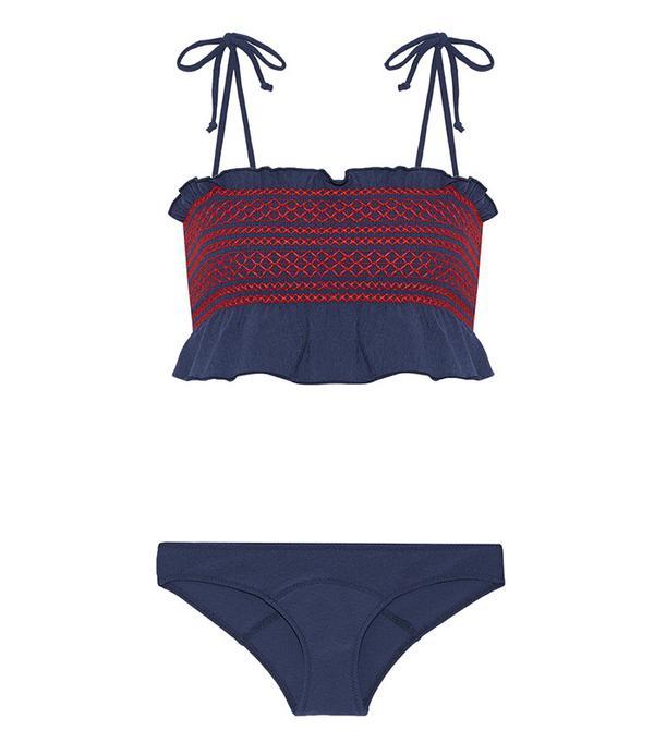 Smocked top and dresses 2000s trend: Lisa Marie Fernandez Selena Ruffle-Trimmed Smocked Stretch-Crepe Bandeau Bikini