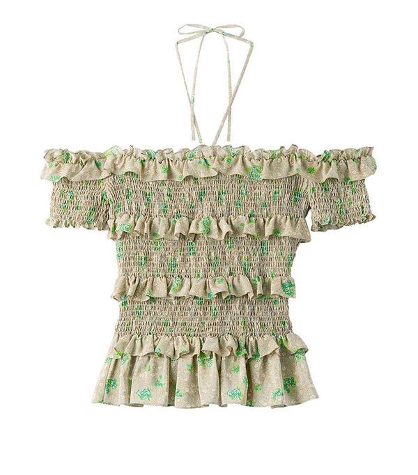 Smocked top and dresses 2000s trend: Rebecca Taylor Off-the-Shoulder Fleur Top