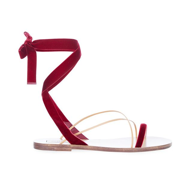 Style dot com trends: Valentino Velvet and Leather Sandals