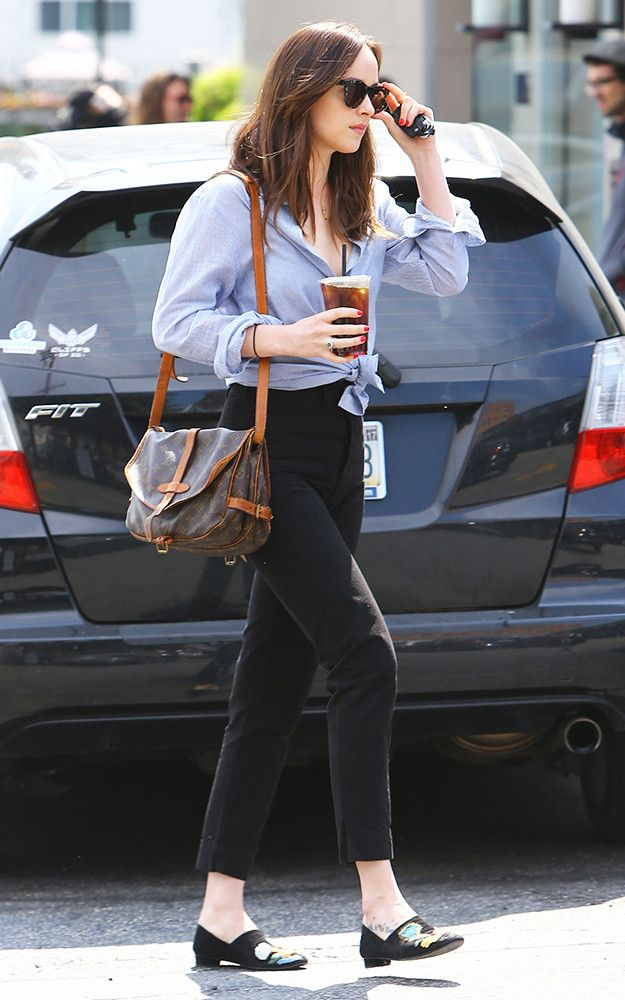 Dakota Johnson classic outfit