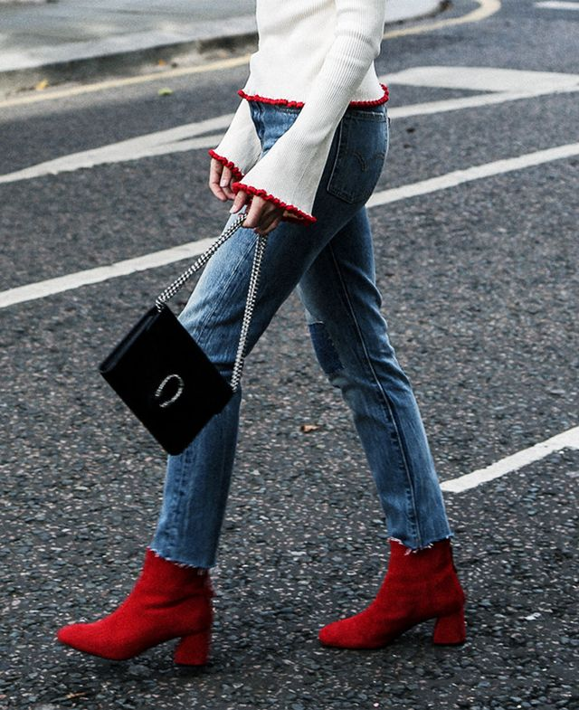Ankle boot trends 2017:  Red ankle boots on Lucy Williams