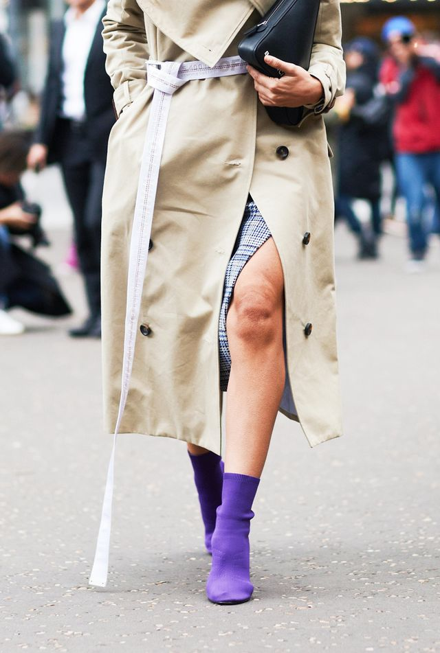 Style Notes: The sock boot is arguably the boot of 2017, as these colourful tight boots with pointed toes and sky-high heels have been a street style favourite and are big news in Zara and Topshop...