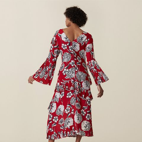 Lotus Pleated Peonies Printed Dress