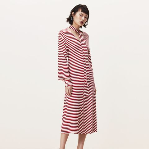Cheam Stripe Pussy Bow Neck Jersey Dress