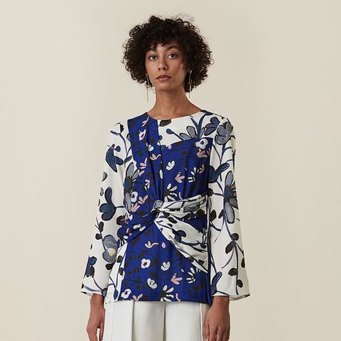 Eyton Twist Panel Top in Virginia Bellflower Print