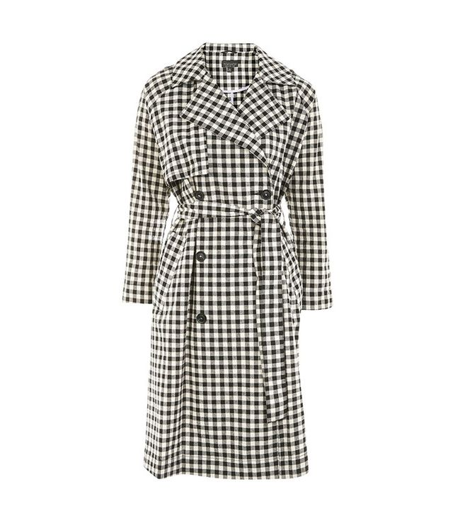Topshop Gingham Trench Coat