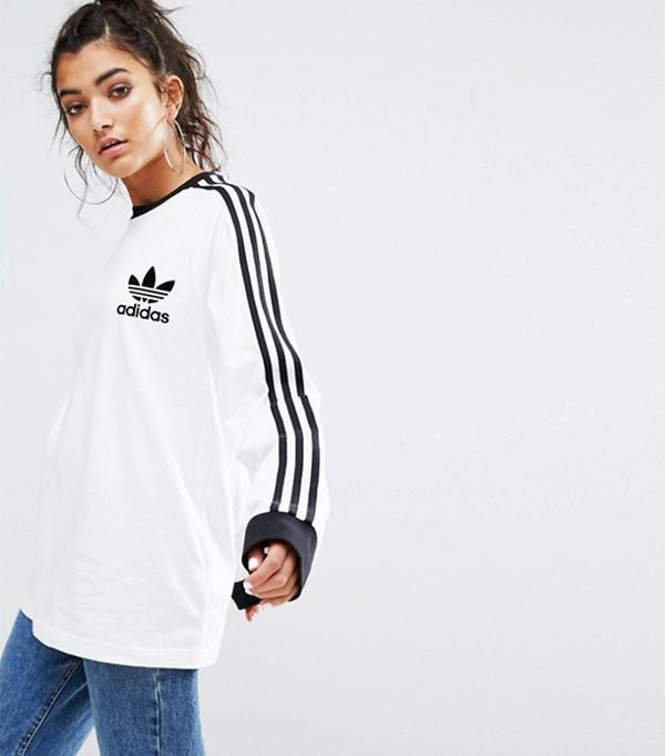 German Fashion: Adidas Originals White Three Stripe Long Sleeve T-Shirt