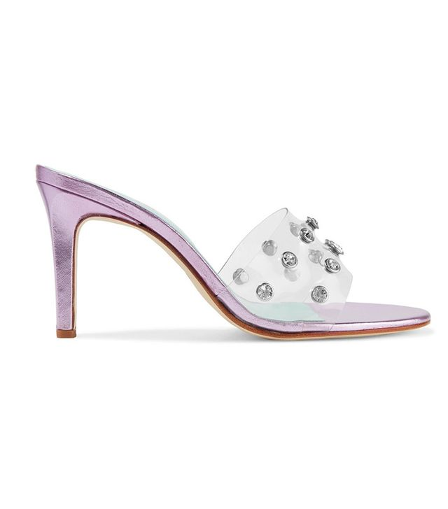 MR by Man Repeller Crystal-Embellished PVC and Metallic Textured-Leather Mules