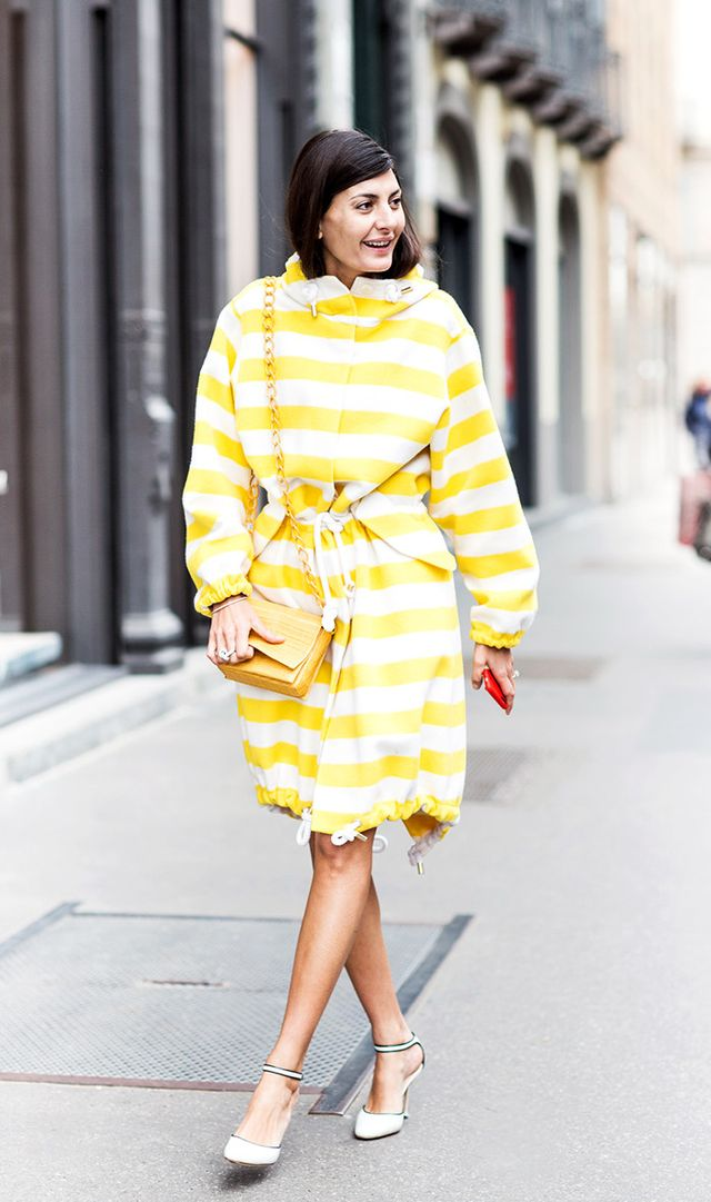 Follow Giovanna Battaglia Engelbert's lead and reach for bright-colored pieces. They're even better when they're worn together.