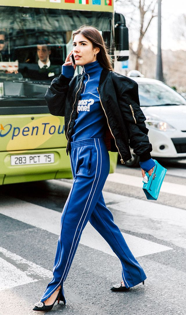 Take a style note from Patricia Manfield and pair embellished heels with track pants.