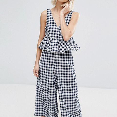 Frill Jumpsuit in Gingham