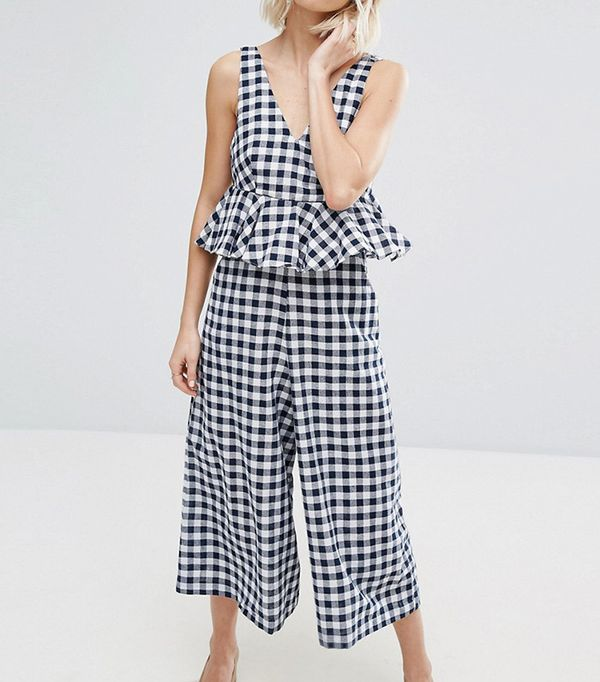 Lost Ink Frill Jumpsuit in Gingham