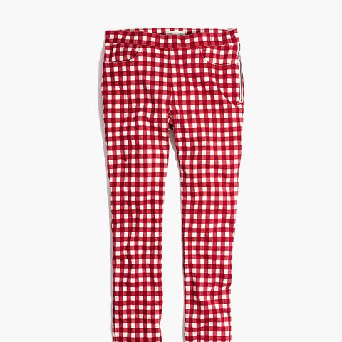 "9"" High-Rise Skinny Crop Jeans: Gingham Edition"