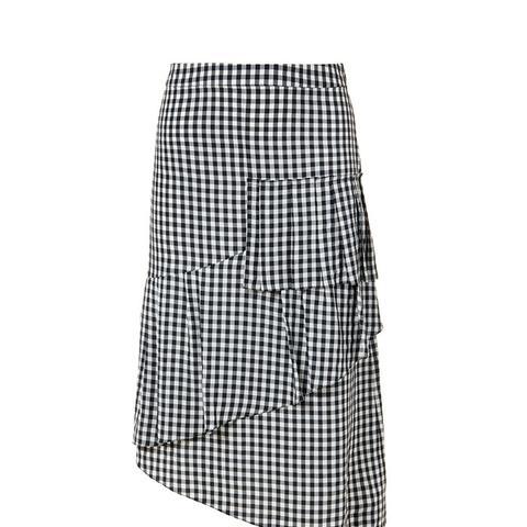 Viscose Gingham Ruffle Skirt
