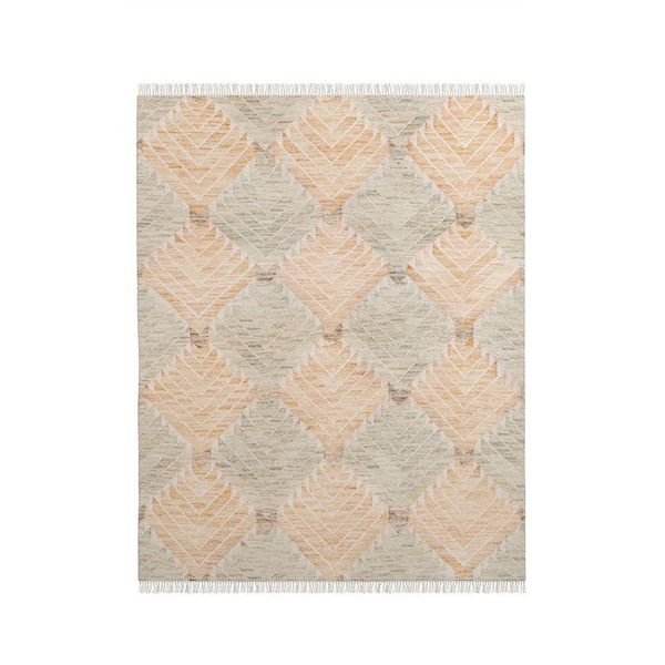 West Elm Diamond Steps Wool Dhurrie - Orange Sunflower