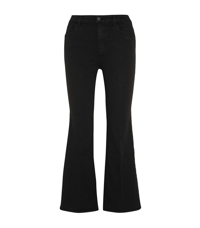 best black cropped flared jeans