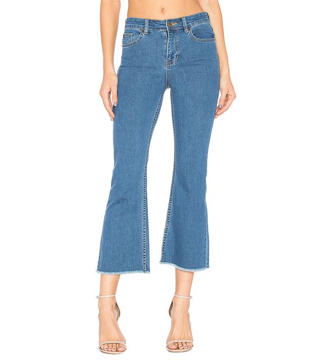 best blue frayed cropped jeans