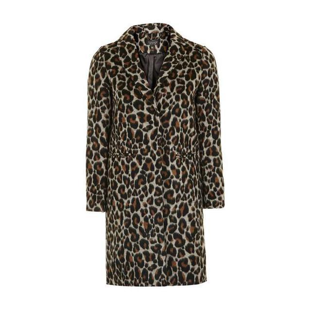Topshop PETITE Brown Leopard Print Coat
