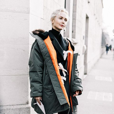 Oversize Parka With Jeans and Red Boots