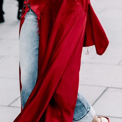 Red Dress With Jeans and Heels