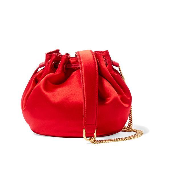 red satin handbag
