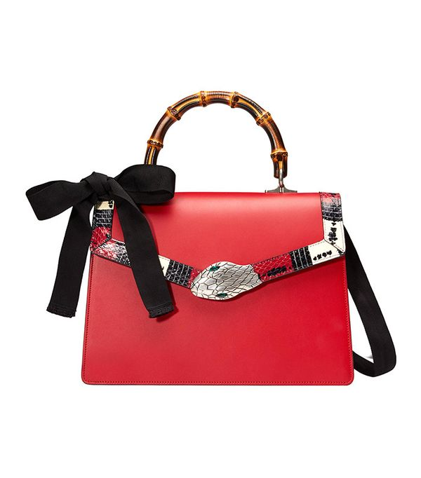 gucci red snake top handle bag