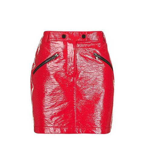 Slick Coated Miniskirt