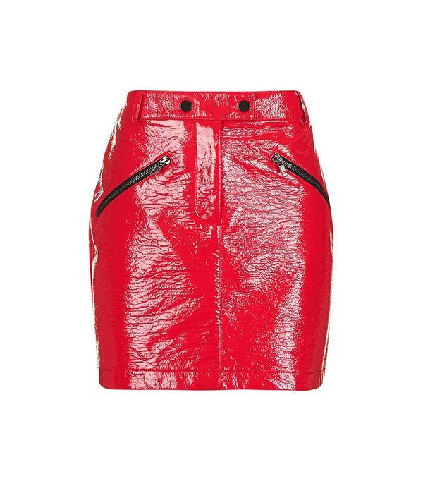 red vinyl miniskirt