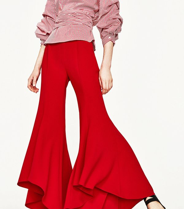 red flared trousers