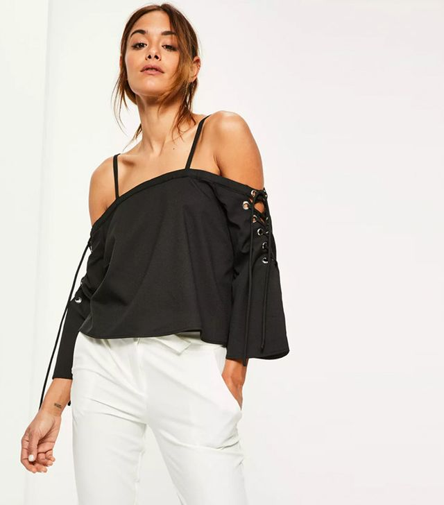 lace-up sleeve blouse