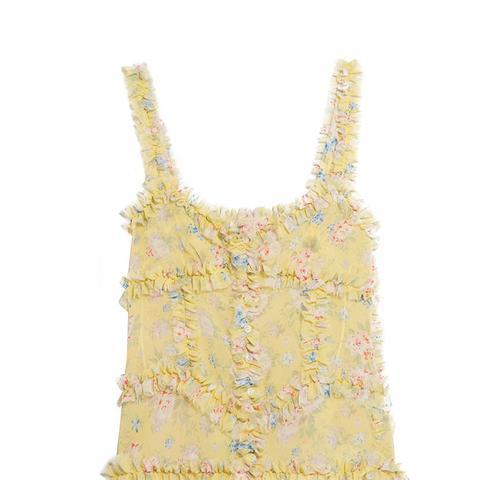Ana Ruffled Floral Silk Chiffon Camisole