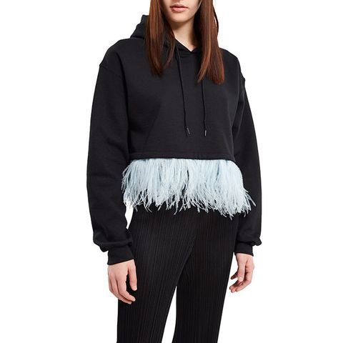 Cropped Feather Trim Hoodie