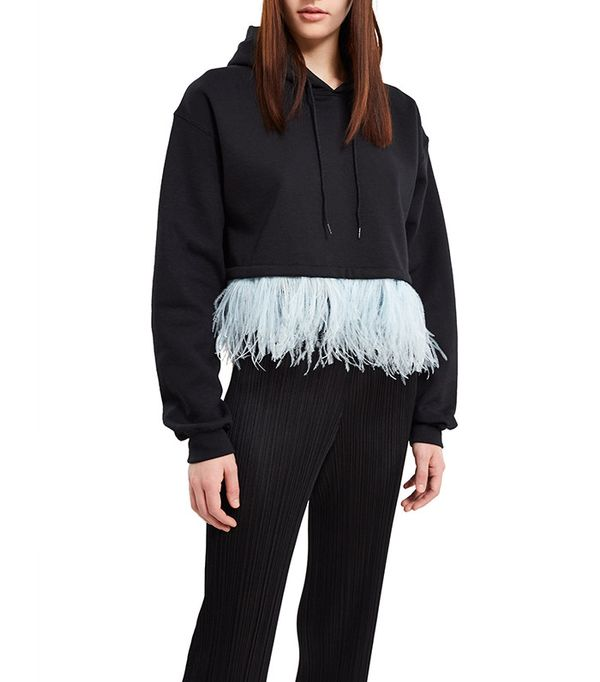 cropped feather hoodie