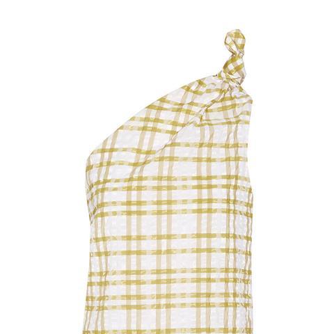 One-Shoulder Checkered Seersucker Top