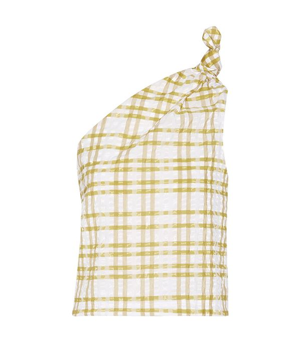 one shoulder checkered top