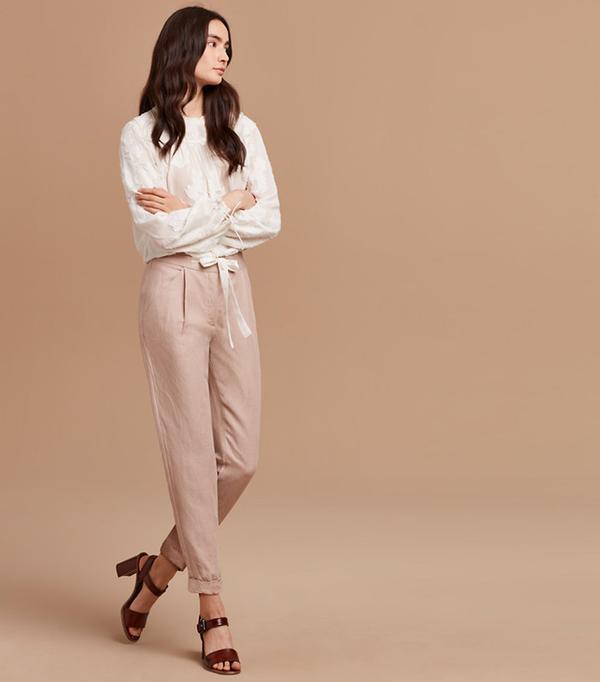 Low rise linen pant