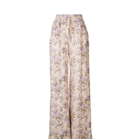 Wide Leg Floral Snap Pant