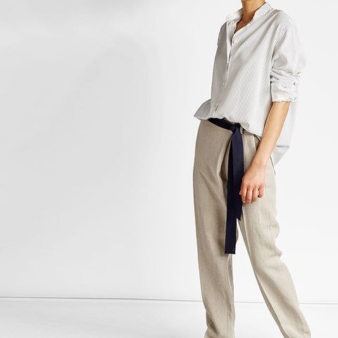 Linen Pants With Belt Tie