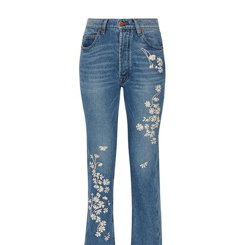 Chamomile Embroidered High-Rise Straight-Leg Jeans