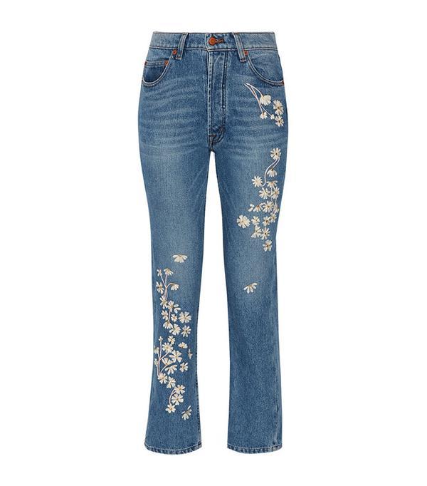 medium wash floral jeans