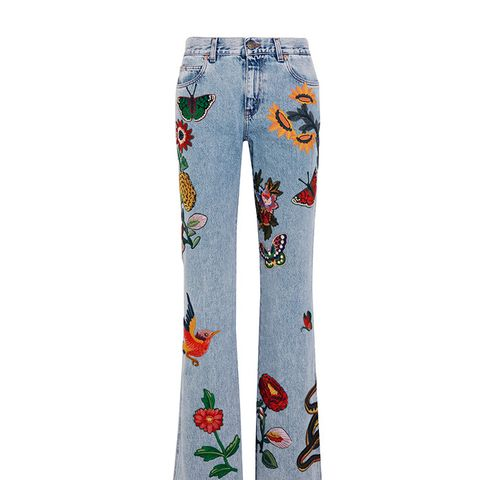 Appliqué Mid-Rise Flared Jeans