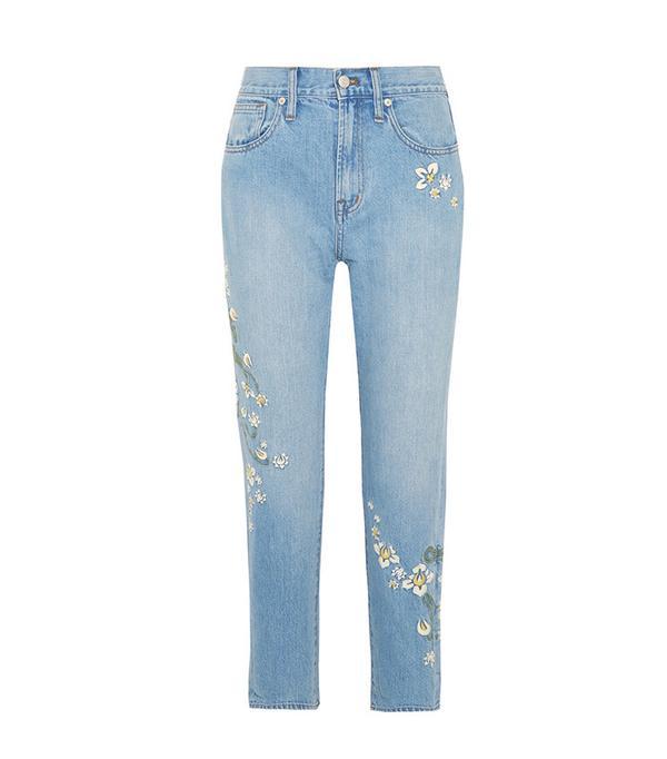 best straight leg floral jeans