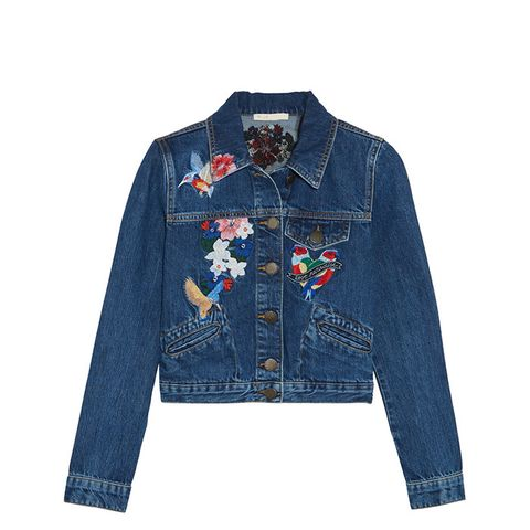 Cropped Embroidered Denim Jacket
