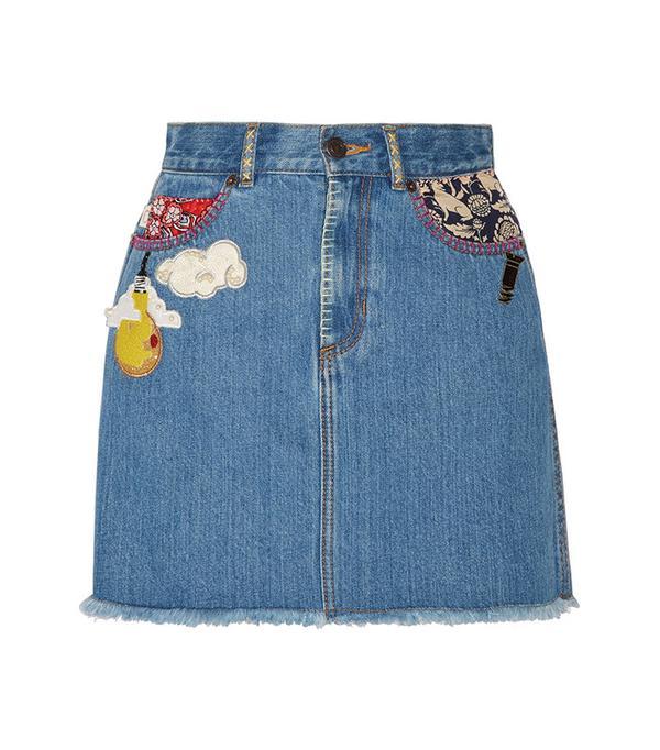 best patch denim skirt