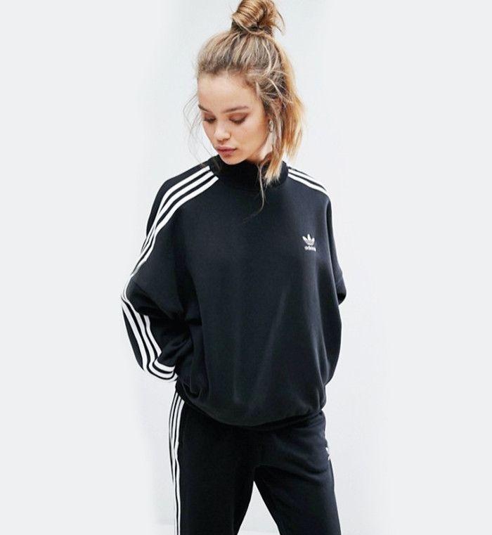 Black Three Stripe High Neck Sweatshirt by Adidas Originals