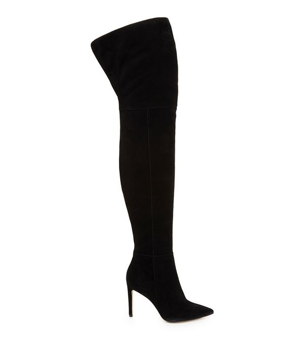 affordable black heeled over-the-knee boots