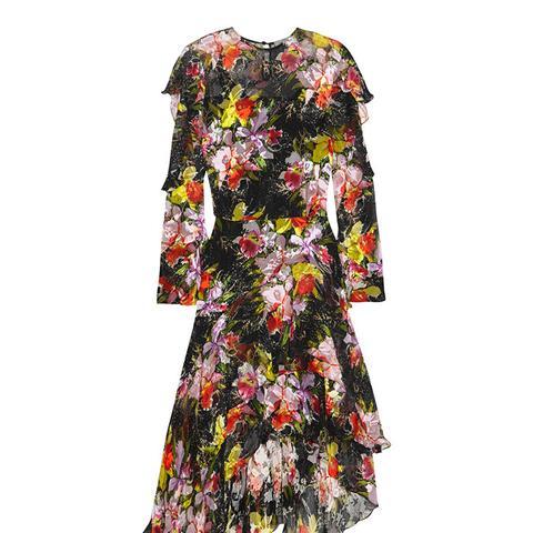 Cassidy Asymmetric Printed Devoré Silk-Chiffon Dress