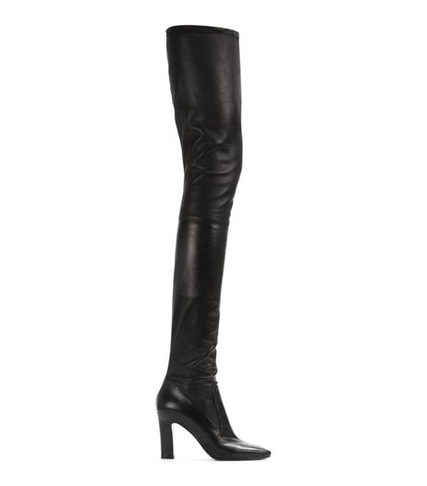 black leather stretch over the knee boots