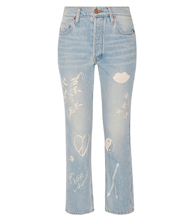 Bliss and Mischief Study Hall Embroidered High-Rise Straight-Leg Jeans