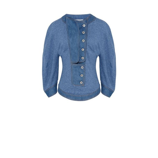 Stella McCartney Light Blue Denim Short Sleeve Sweater